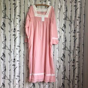 Ekouaer 100% Cotton Pink Prairie Style Nightgown